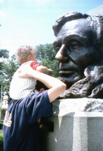 Rubbing Lincoln's nose