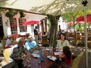 Lunch outdoors at the restaurant in the dappled shade