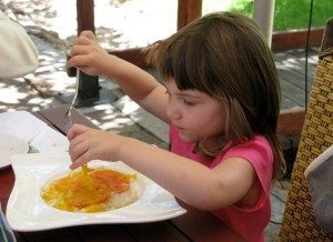 Our 3-year-old grand-daughter devours her mac 'n cheese!