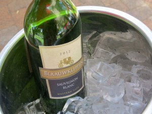 Chilled sauvignon blanc at lunch