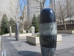 Some of Jun Kaneko's colorful ceramic stele in Millennium Park