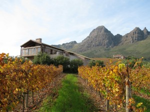 Uva Mira tasting room with Helderberg mountain behind