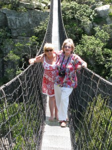 Viv and sister Veronita on the suspension bridge