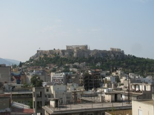 View from the roof terrace of Hotel Euripides in Athens