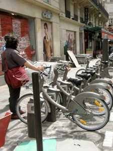 First encounter with Velib, Paris, July 2007