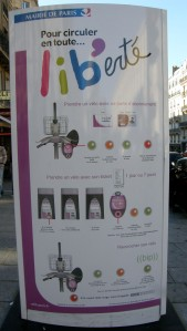 A Velib sign---how to sign up with your transport card