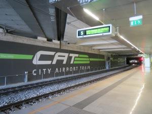 Waiting on the CAT platform at Wein-Mitte station