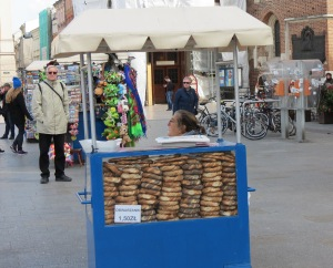 We bought pretzels from this pretzel stand