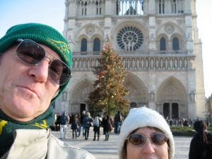Rod and I outside Notre Dame, Paris, one recent winter