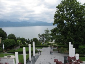From the museum, view of part of the gardens and the view over the lake