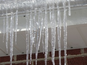 Some roof icicles---pretty but don't have one break off and fall on you!