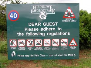 Game Park sign: note the rhino logo and the Big 6 sign on top right
