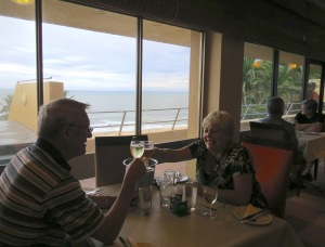 Rather back-lit, but toasting the great view!