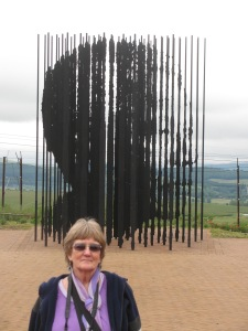 I'm happy to pose in front of the amazing sculpture to Nelson Mandela
