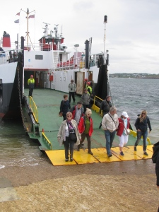 Walking off the smaller ferry to Iona. Visitors cannot take their cars to the island---just commercial vehicles or residents