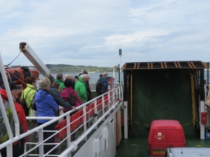 Going back to Fionnphort from Iona, the ferry has the mail van and another small van. Note Rod by the railings