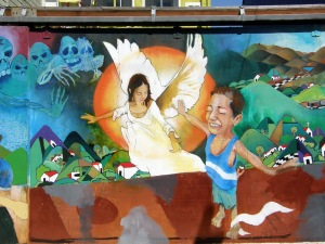 All the murals are colorful, many tell a story, often symbolic