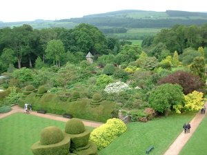 Crathes Castle's pretty gardens from one of the tower windows