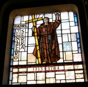 Stained-glass window depicting Father Junipero Serra