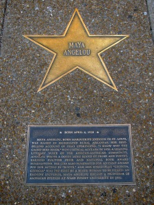 Maya Angelou star: each star also has a plaque for a brief summary of the person