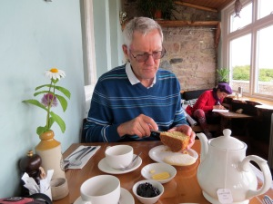 Rod cuts into his half scone. I wait to pour the tea from the china pot