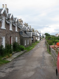 Waterfront street in the village on Iona Island