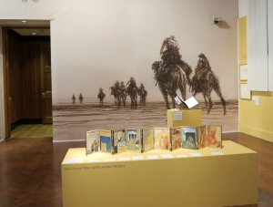 Some of McBey's sketches, especially of camels in the desert, are blown up on the walls