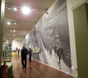 Some of the walls had blown-up pictures of actual war photos