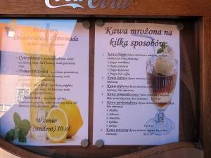 The cafe's menu