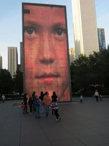 Crown Fountain early evening. One of 1000 Chicagoan faces