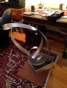 """Another small """"orbital'-style sculpture in her living room"""