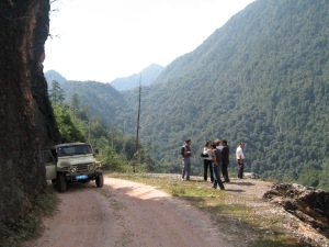 Driving up into the mountains of Yunnan, we stop to let the Jeep cool