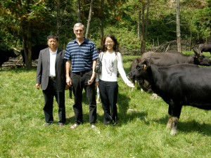 Rod M with our Chinese hosts in the meadow with some of the Gayal cattle