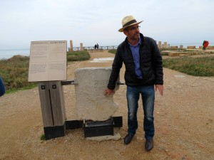 Danny Hermann shows the group an inscription that mentions Pontius Pilate