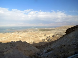 Looking down on the south part of the Dead Sea you can easily see some of the salt extraction ponds