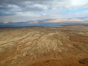 We approach the Dead Sea from the desert hills