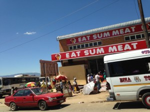 A rural shop where the braai meat might be bought