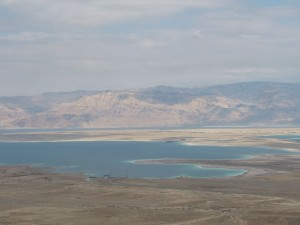 Even from our bus we can see that the north and south parts of the Dead Sea are getting separated