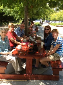 Our multi-generational group enjoying coffee