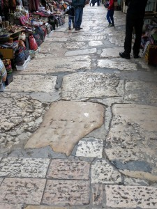 A plaque on the wall indicates that this is some of the original paving from the time of Jesus Christ