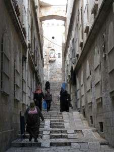 A narrow stepped street