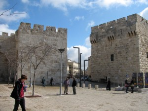 We enter old Jerusalem at the Jaffa Gate (left)