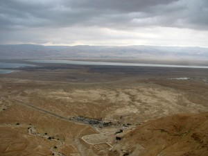 From the cable car we look down to the Visitors Center, and the Dead Sea in the distance