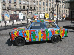 One of the painted cars---a good symbol of freedom