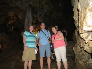 Sonya D, Rod M, Nathalie M in the caves