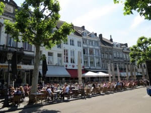 There are many cafes along one side of the huge square, Vrijthof