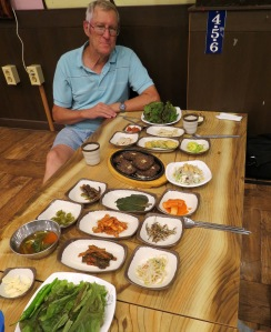 Even for a special meal with a great array of side dishes we still had metal chopsticks