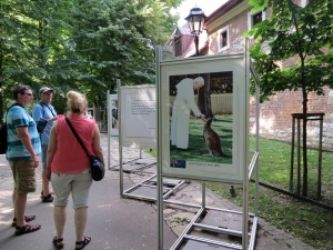 An outdoor exhibit on Pope John Paul II in Planty Park, Krakow