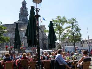 View of market square from a cafe