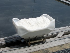 Salt collected in a wagon at salt pans in Korea